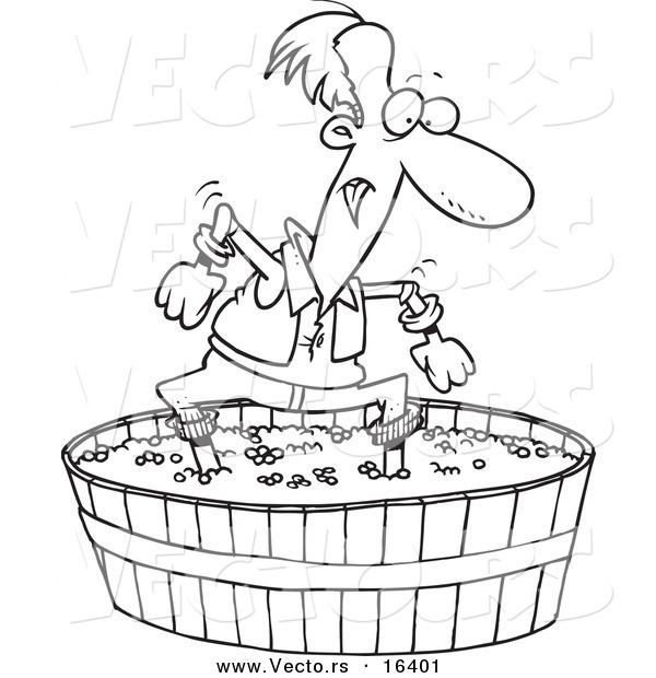 Vector of a Cartoon Man Stomping Grapes - Outlined Coloring Page Drawing