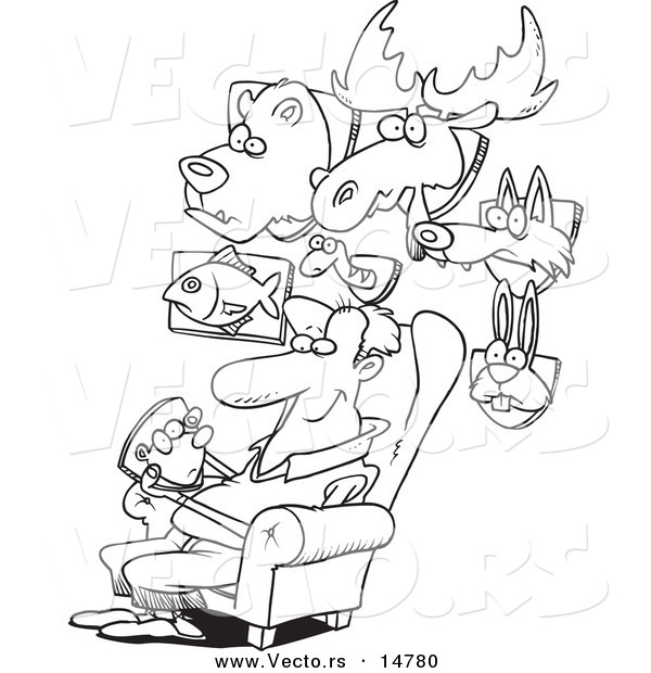 Vector of a Cartoon Man Surrounded by His Mounted Animal Trophy Heads - Coloring Page Outline