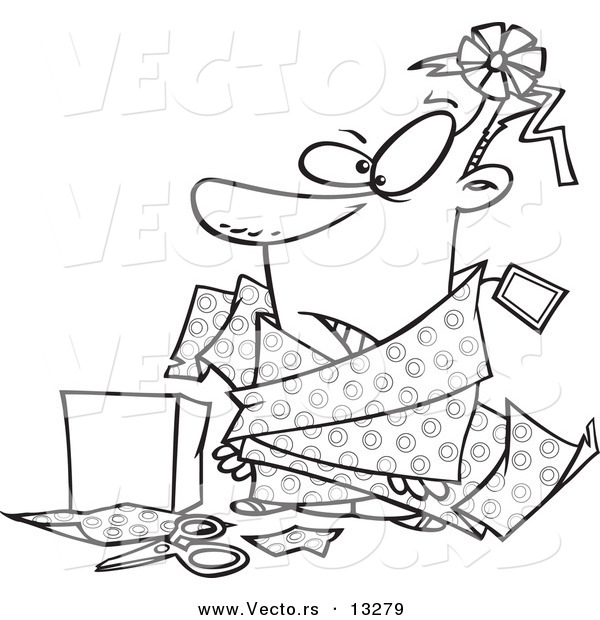 vector of a cartoon man tangled in wrapping paper coloring page outline by toonaday 13279. Black Bedroom Furniture Sets. Home Design Ideas