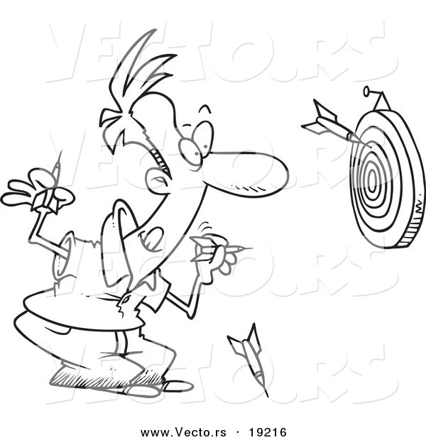 Vector of a Cartoon Man Throwing Darts - Outlined Coloring Page
