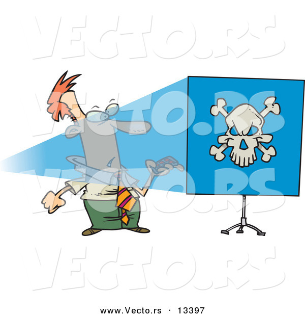 Vector of a Cartoon Man Turning Projector on and Seeing a Skull on a Blue Screen