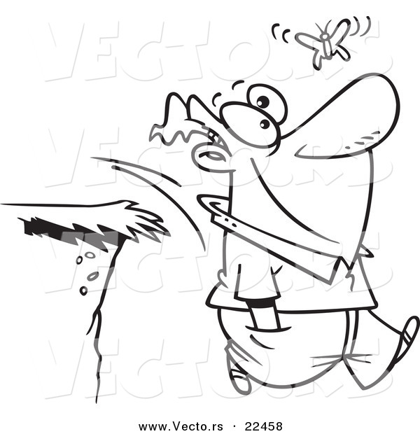 Vector of a Cartoon Man Walking off a Cliff While Following a Butterfly - Coloring Page Outline