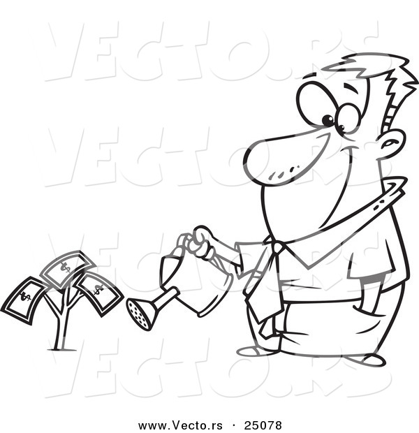 Vector of a Cartoon Man Watering His Money Plant - Outlined Coloring Page