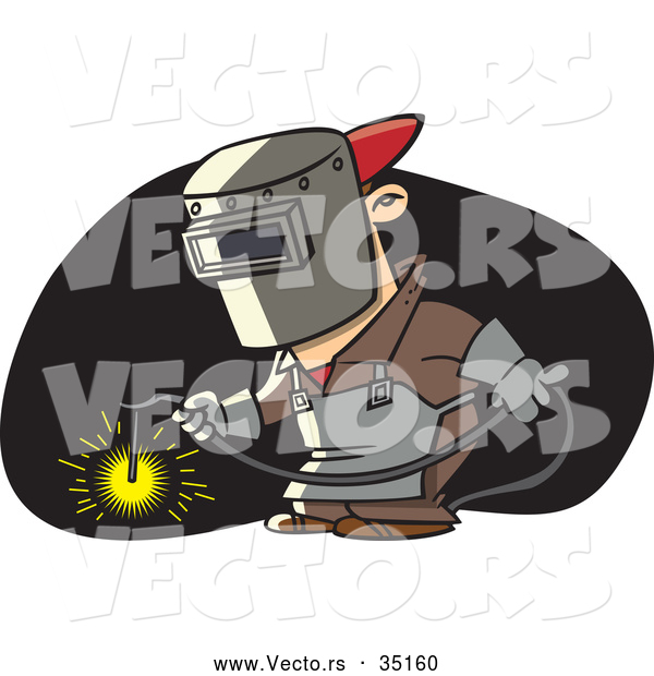 Vector of a Cartoon Man Welding with Mask and Torch