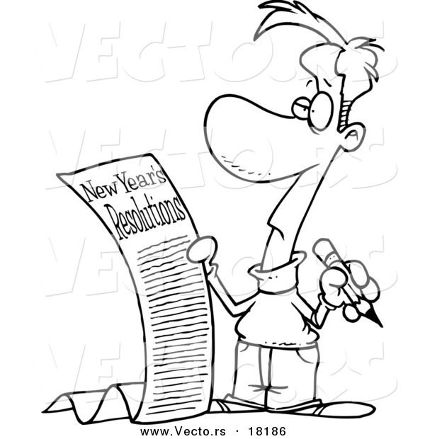 Vector of a Cartoon Man with a Long List of New Year Resolutions - Outlined Coloring Page
