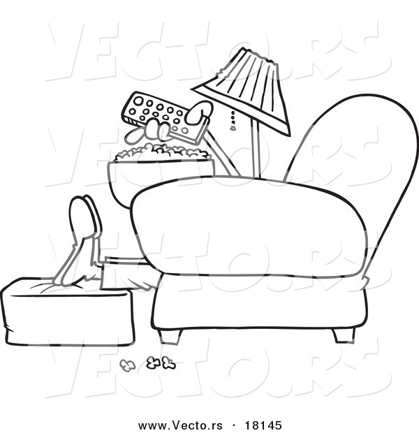 Vector of a Cartoon Man with Popcorn, Pointing a Remote at a Tv - Outlined Coloring Page