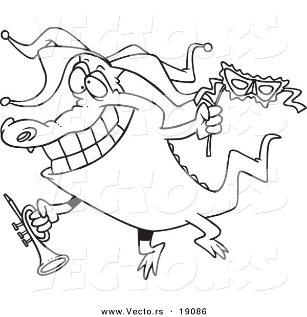 Vector of a Cartoon Mardi Gras Crocodile Holding a Trumpet - Outlined Coloring Page