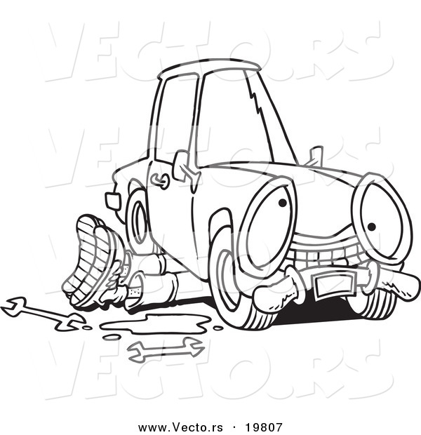 Vector of a Cartoon Mechanic Working Under a Car - Outlined Coloring Page