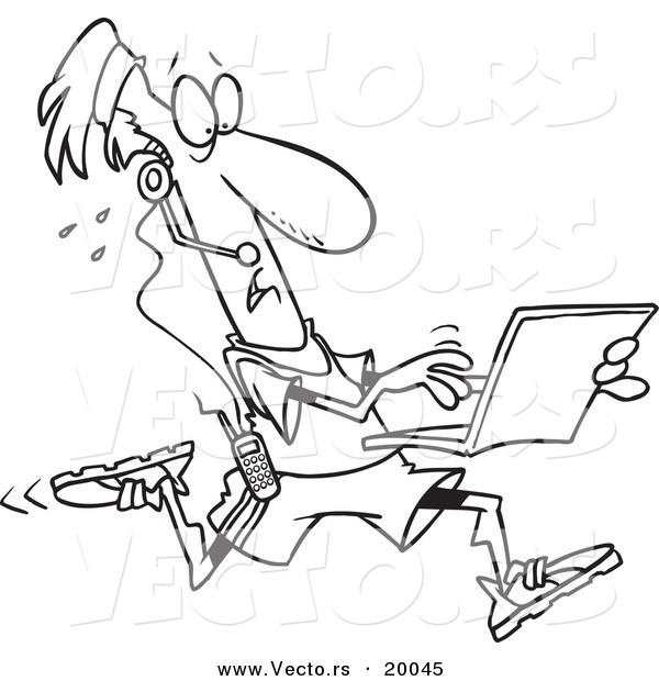 Vector of a Cartoon Mobile Jogger Using a Laptop - Outlined Coloring Page