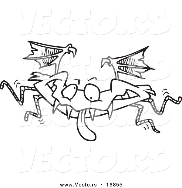 Vector of a Cartoon Monster Bat - Coloring Page Outline