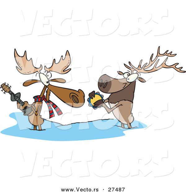 Vector of a Cartoon Moose and Elk Playing Musical Instruments