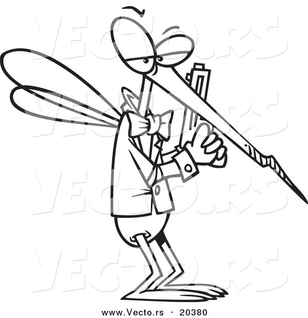 Vector of a Cartoon Mosquito Agent - Coloring Page Outline