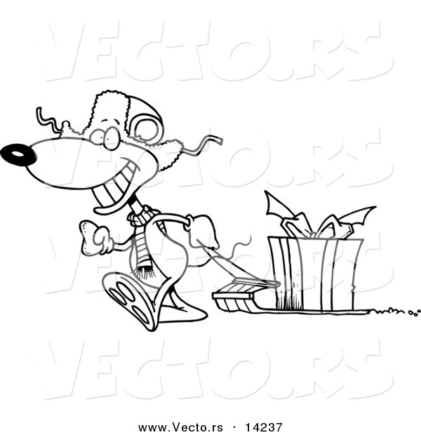 Vector of a Cartoon Mouse Pulling a Christmas Gift on a Sled - Coloring Page Outline