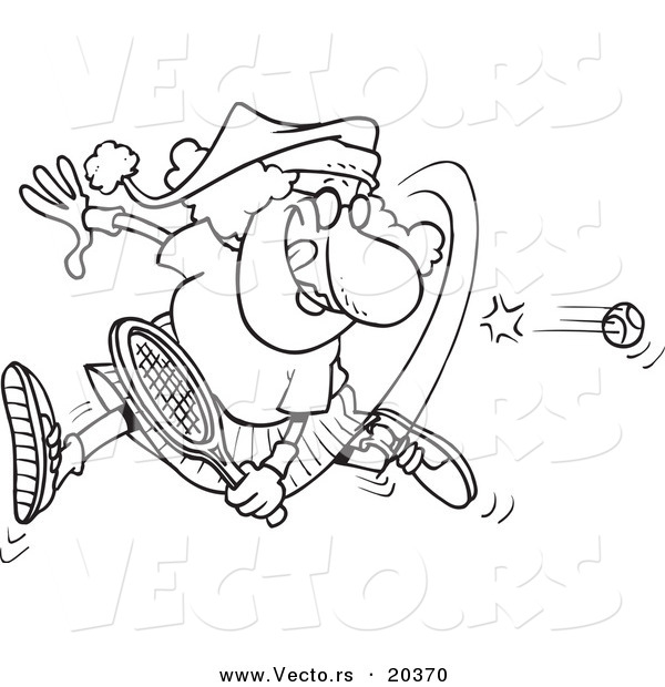 Vector of a Cartoon Mrs Claus Playing Tennis - Coloring Page Outline
