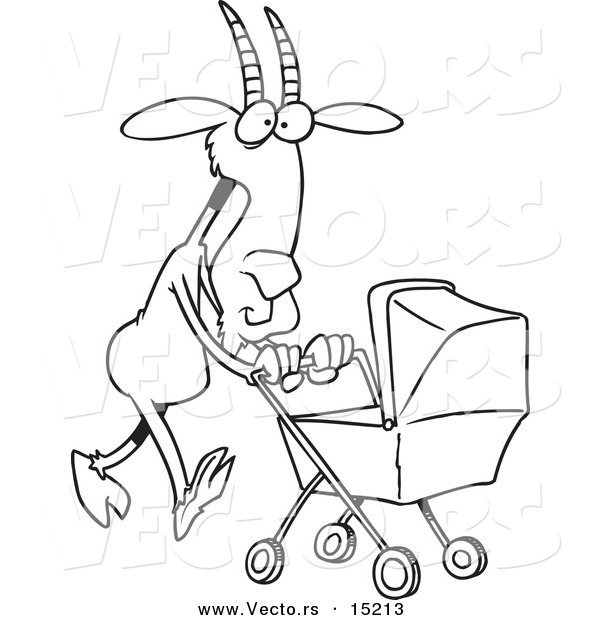 Vector of a Cartoon Nanny Goat Pushing a Tram - Coloring Page Outline