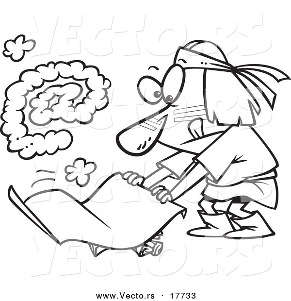 Vector of a Cartoon Native American Man Fanning a Fire with an at Smoke Symbol - Coloring Page Outline