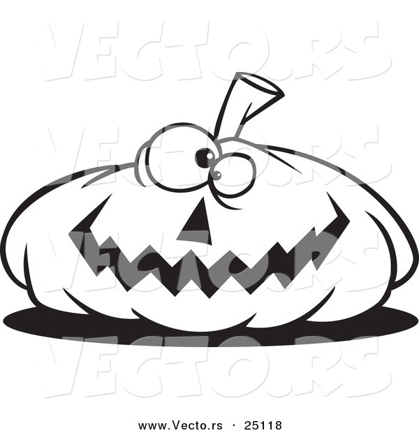 Vector of a Cartoon Nearly Flat Jackolantern Halloween Pumpkin - Coloring Page Outline