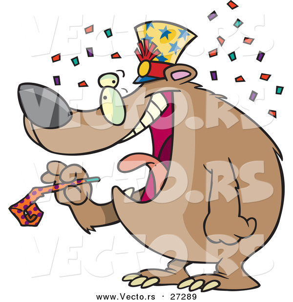Vector of a Cartoon New Year Bear Holding a Noise Maker