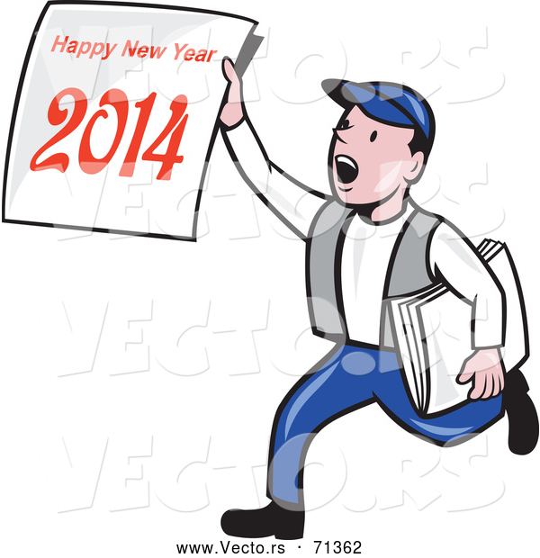 Vector of a Cartoon News Boy Delivering a 'Happy New Year 2014' Newspaper