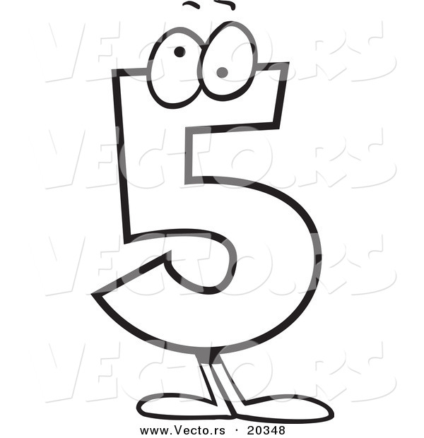 Vector of a Cartoon Number 5 Five Character - Coloring Page Outline