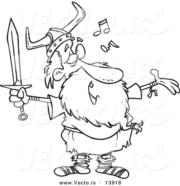 Vector of a Cartoon Old Male Viking Holding a Sword and Singing - Coloring Page Outline