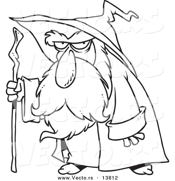 Vector of a Cartoon Old Wizard Using His Cane - Coloring Page Outline