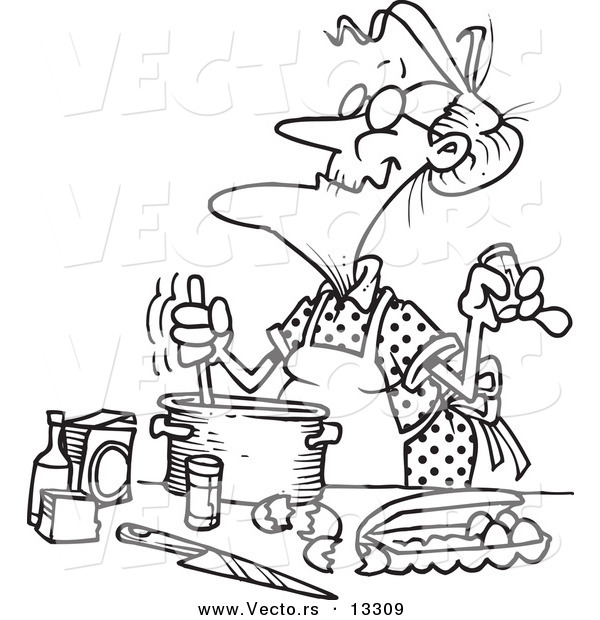Vector of a Cartoon Old Woman Baking - Coloring Page Outline