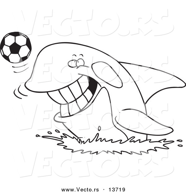 Vector of a Cartoon Orca Playing with a Soccer Ball - Coloring Page Outline
