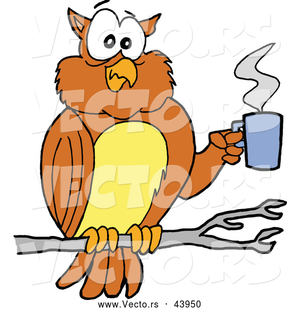 Vector of a Cartoon Owl in a Tree with a Hot Cup of Coffee