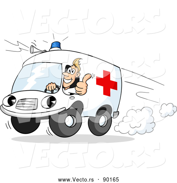 Vector of a Cartoon Paramedic Ambulance Rushing to Emergency Scene