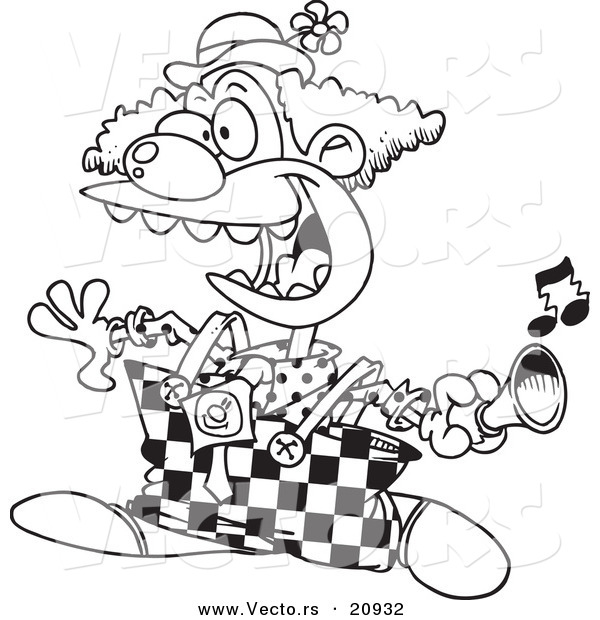 Vector of a Cartoon Party Clown Using a Horn - Coloring Page Outline