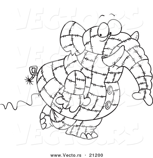 Vector of a Cartoon Patchwork Elephant - Coloring Page Outline