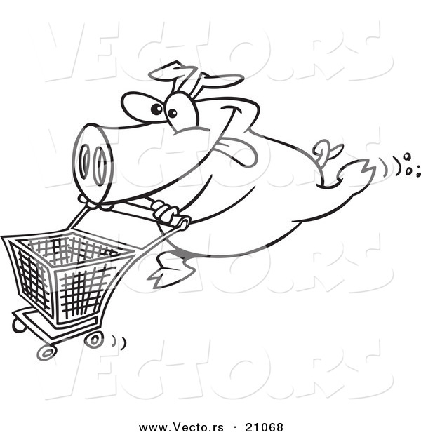 Vector of a Cartoon Pig Pushing a Shopping Cart - Coloring Page Outline