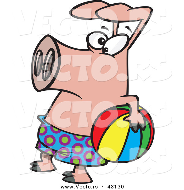 Vector of a Cartoon Pig Wearing Swim Shorts While Holding a Colorful Beach Ball