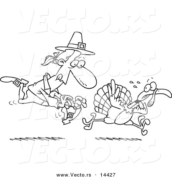 Vector of a Cartoon Pilgrim Chasing a Turkey Bird - Coloring Page Outline
