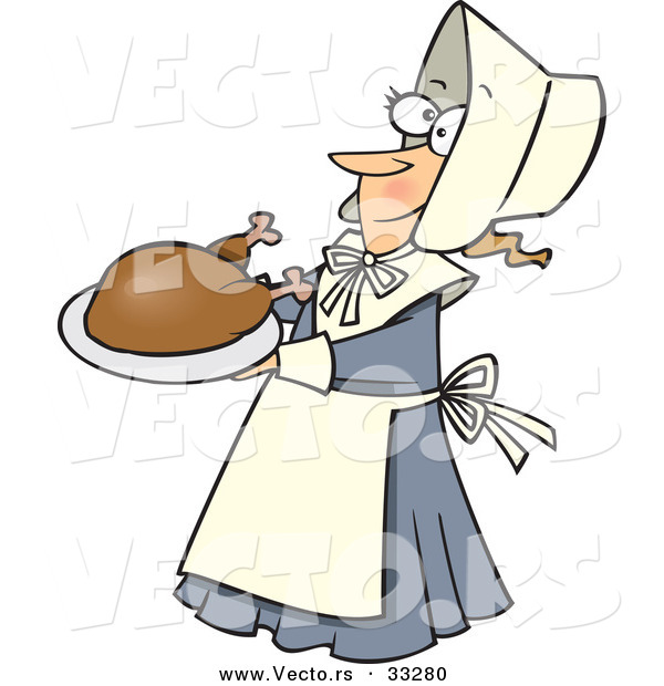 Vector of a Cartoon Pilgrim Lady Serving Turkey on a Dish