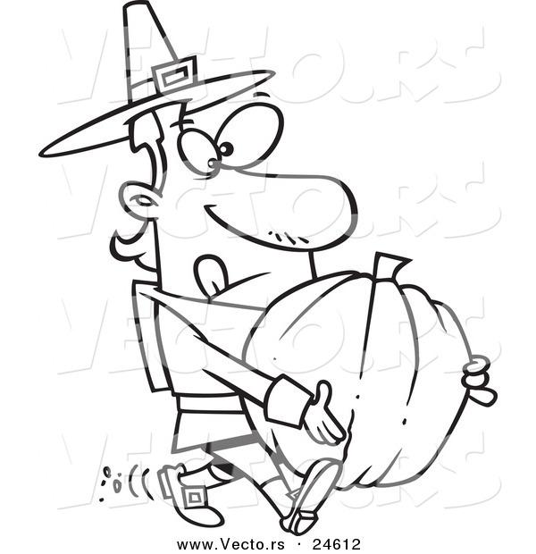 Vector Of A Cartoon Pilgrim Man Carrying Pumpkin