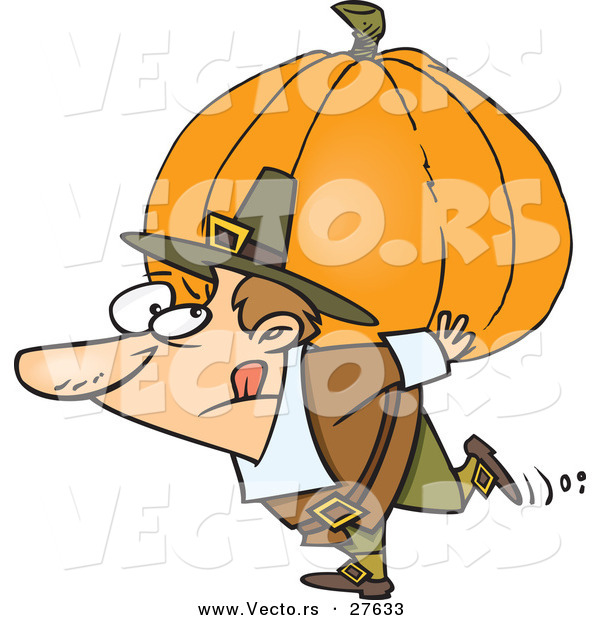 Vector of a Cartoon Pilgrim Man Carrying Heavy Pumpkin on His Back