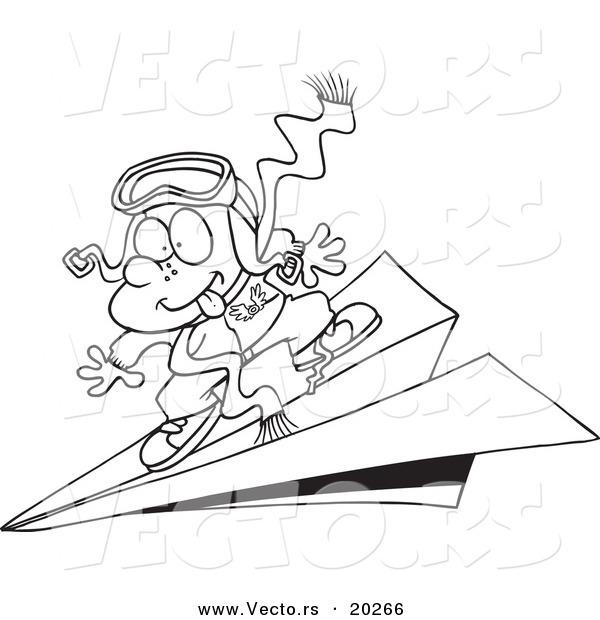 Vector of a Cartoon Pilot Boy Flying on a Paper Plane