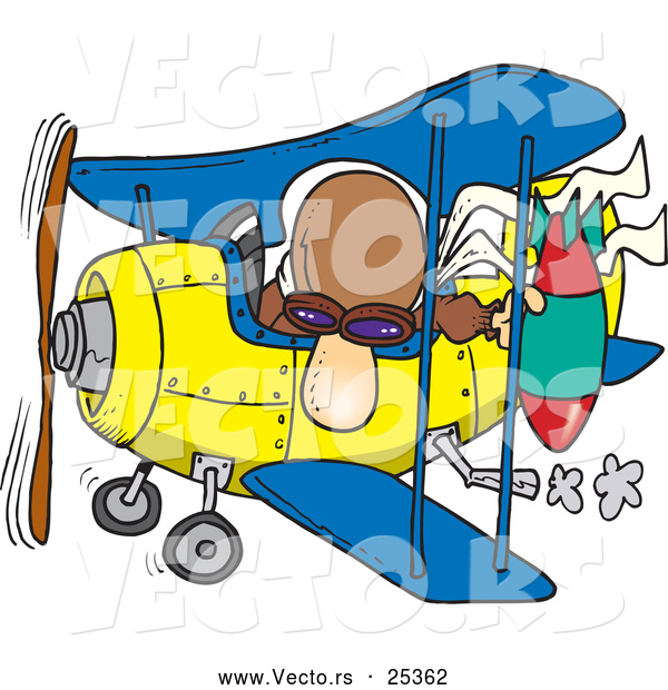 Vector of a Cartoon Pilot Dropping Bomb from Biplane