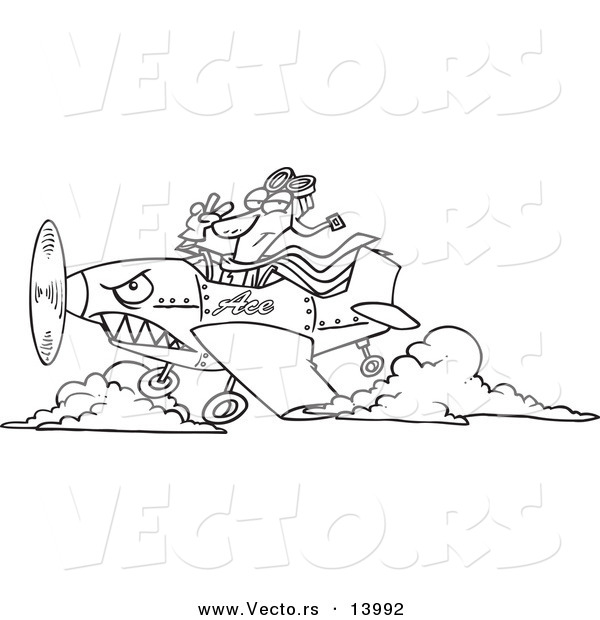 Vector of a Cartoon Pilot Flying an Ace Plane - Coloring Page Outline