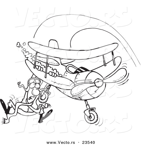 Vector of a Cartoon Pilot Hanging on His Biplane - Coloring Page Outline