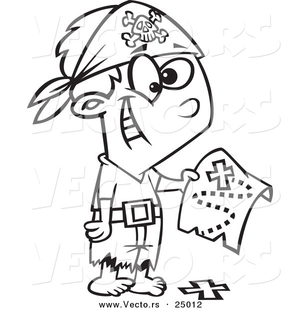 Vector of a Cartoon Pirate Boy Holding a Map over the X on the Ground - Outlined Coloring Page