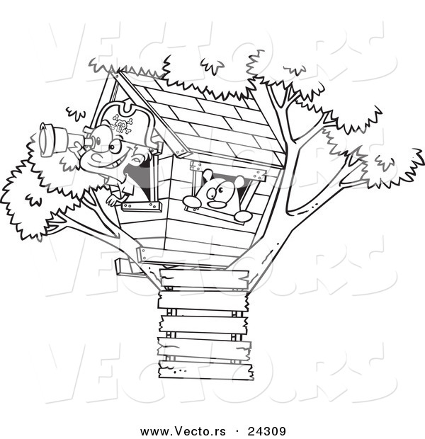 Vector of a Cartoon Pirate Boy in His Tree House Black and White Outline - Outlined Coloring Page