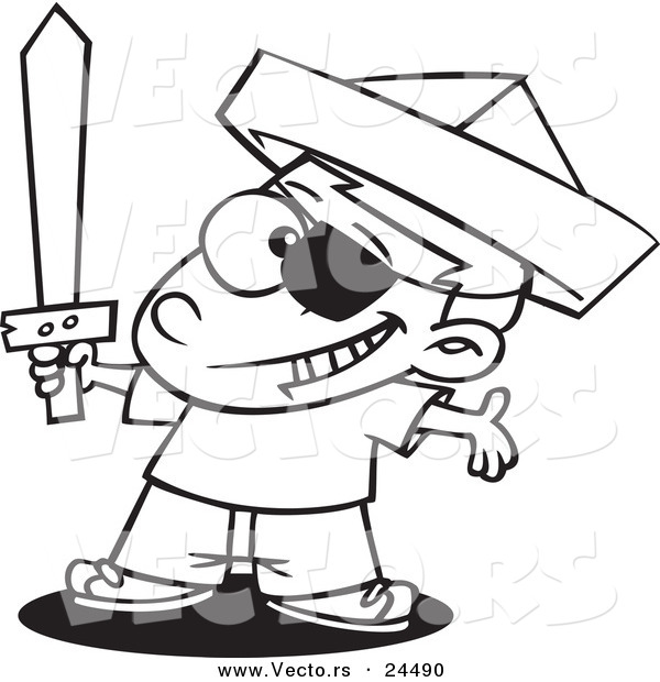 Vector of a Cartoon Pirate Boy with a Newspaper Hat and Sword - Outlined Coloring Page