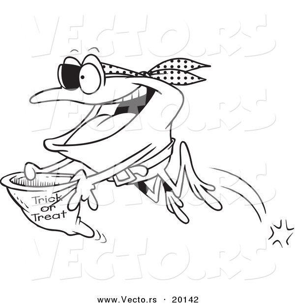 Vector of a Cartoon Pirate Frog Trick or Treating - Outlined Coloring Page