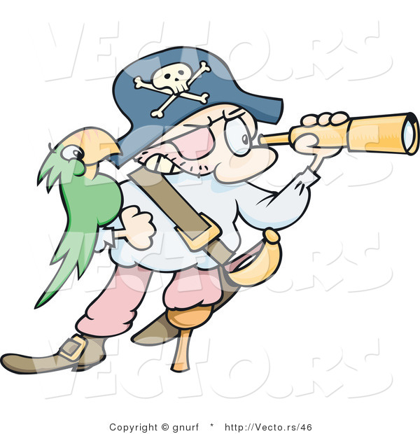 Vector of a Cartoon Pirate Looking Through a Telescope, His Green Parrot on His Arm