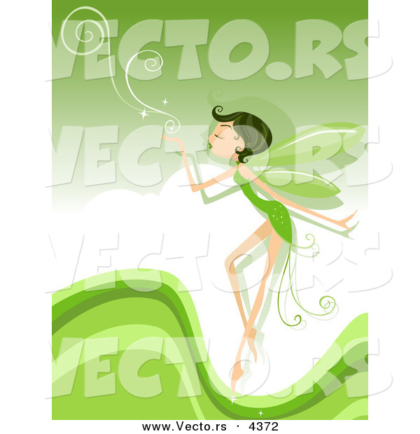 Vector of a Cartoon Pixie Blowing Swirls over a Green Background with Waves