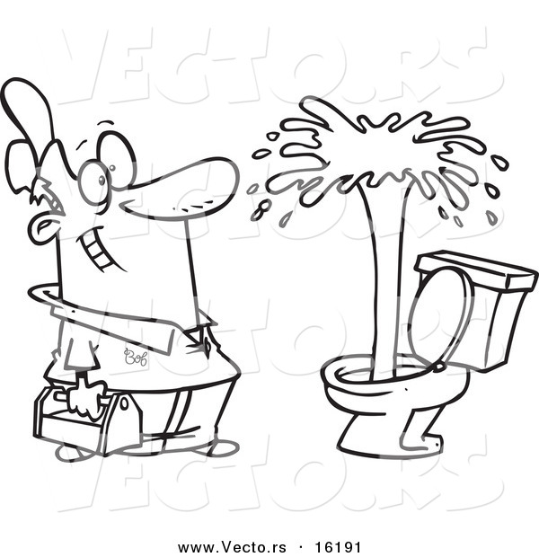 Vector of a Cartoon Plumber Admiring a Geyser in a Toilet - Outlined Coloring Page Drawing
