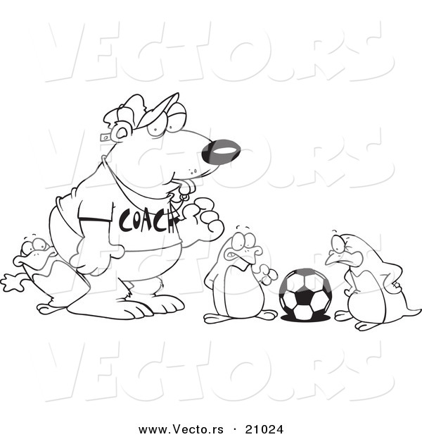 Vector of a Cartoon Polar Bear Coaching Penguins for Soccer - Coloring Page Outline